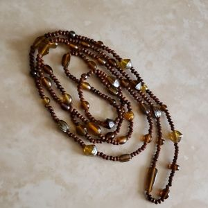 Long vintage Brown Beaded necklace